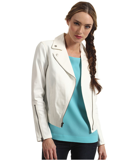 tibi - Biker Jacket (White) Women's Jacket