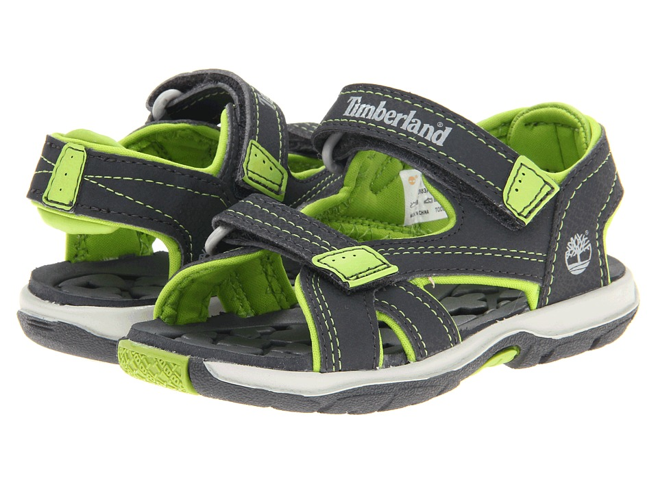 Timberland Kids - Mad River 2-Strap Sandal (Toddler/Little Kid) (Dark Grey/ Green) Boys Shoes