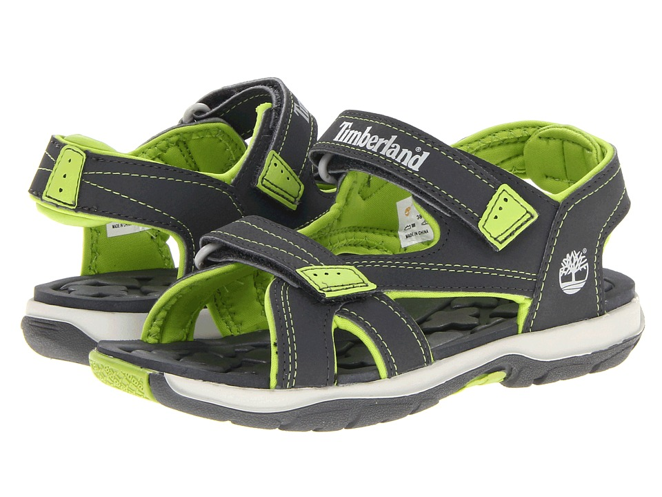 Timberland Kids - Mad River 2-Strap Sandal (Little Kid) (Dark Grey w/ Green) Boys Shoes