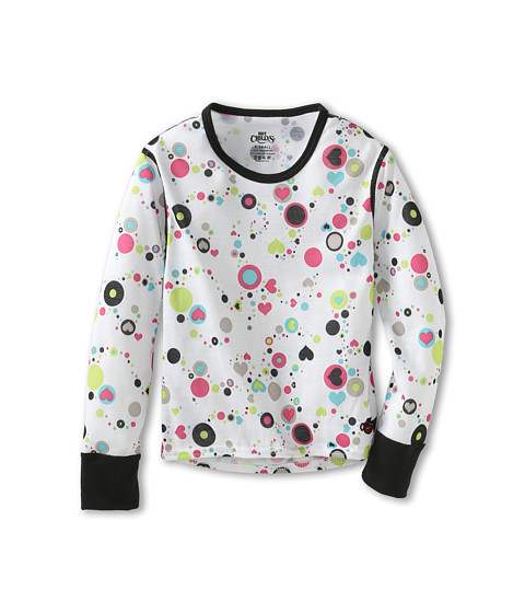 Hot Chillys Kids - Midweight Print Crew (Little Kids/Big Kids) (Dots & Hearts/White) Girl