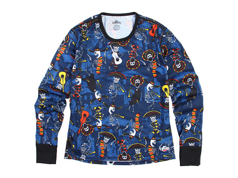 Hot Chillys Kids - Midweight Print Crew (Little Kids/Big Kids) (Mariachi/Navy) Boy