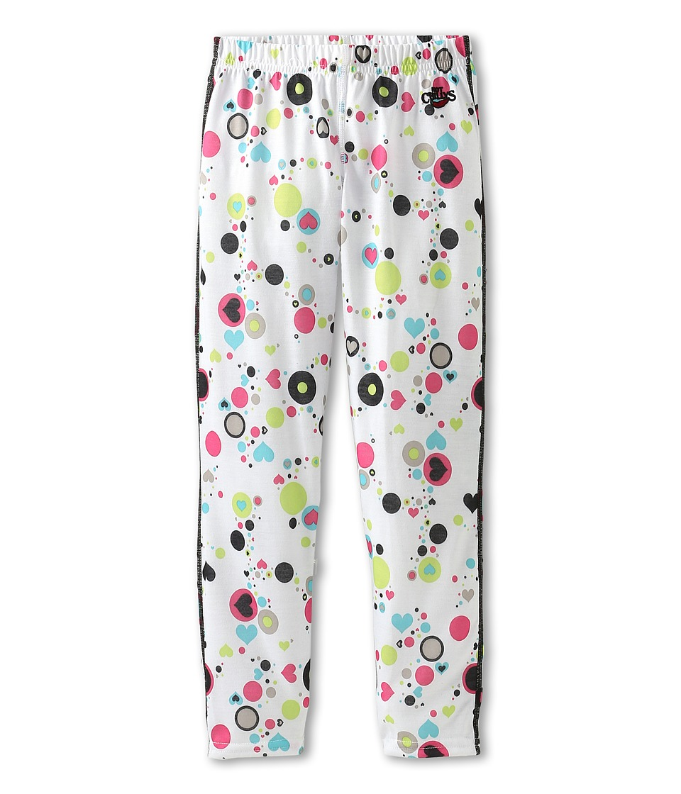 Hot Chillys Kids - Midweight Print Bottom (Little Kids/Big Kids) (Dots & Hearts/White) Girl's Clothing