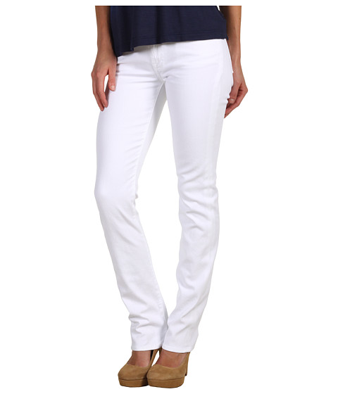 7 For All Mankind - Kimmie Straight Leg w/ Contoured Waistband in Clean White (Clean White) Women