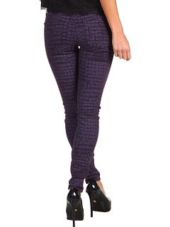 SALE! $30.8 - Save $123 on Rich Skinny Croc Print Marilyn in Eggplant (Eggplant) Apparel - 80.00% OFF $154.00