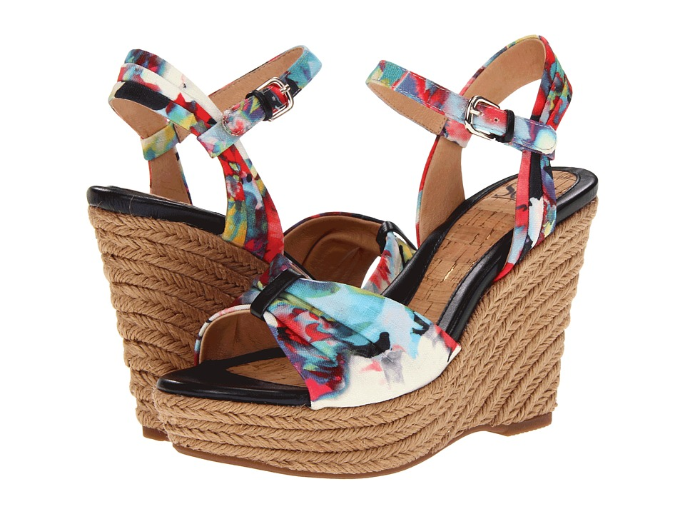 Sofft - Peggie (Black Multi Adelma Floral Fabric) Women's Wedge Shoes