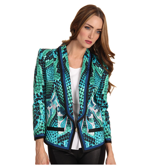 Just Cavalli - Atlantis Print Cotton Blazer (Aqua) Women's Jacket