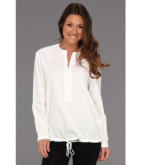 Halston Heritage - Long Sleeve Zip Front Drawstring Shirt (White) Women