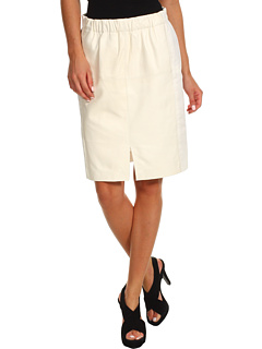 SALE! $326.99 - Save $267 on Halston Heritage Leather Combo Skirt with Front Slit Detail (Cream) Apparel - 44.95% OFF $594.00