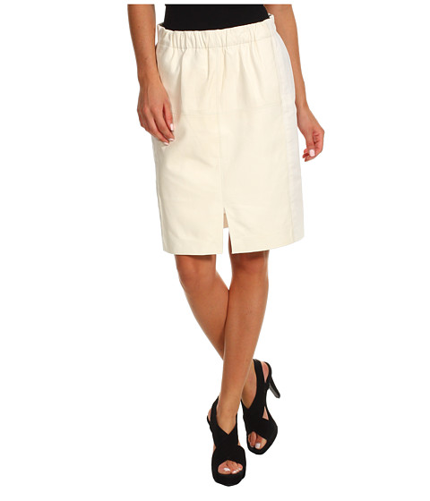 Halston Heritage - Leather Combo Skirt with Front Slit Detail (Cream) Women's Skirt