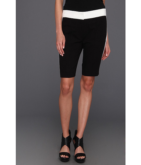 Halston Heritage - Colorblock Bermuda Shorts (Black/White) Women's Shorts