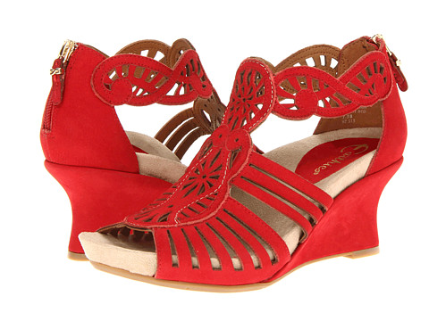 Earthies Caradonna (Bright Red) Women's Wedge Shoes