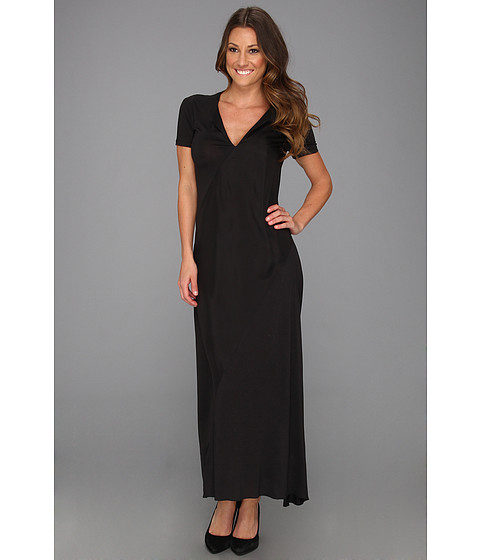 Halston Heritage - Short Sleeve Maxi Dress with Asymmetric Contrast Detail (Black) Women