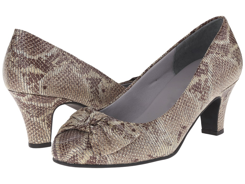 Rose Petals - Coral (Brown/Beige Snake Print Leather) Women's Shoes