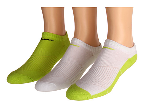 Nike Kids - Cotton Cushion No Show Socks w/ Moisture Management 3-Pair Pack (Little Kid/Big Kid) (Cyber/White/Cyber/White) Kids Shoes