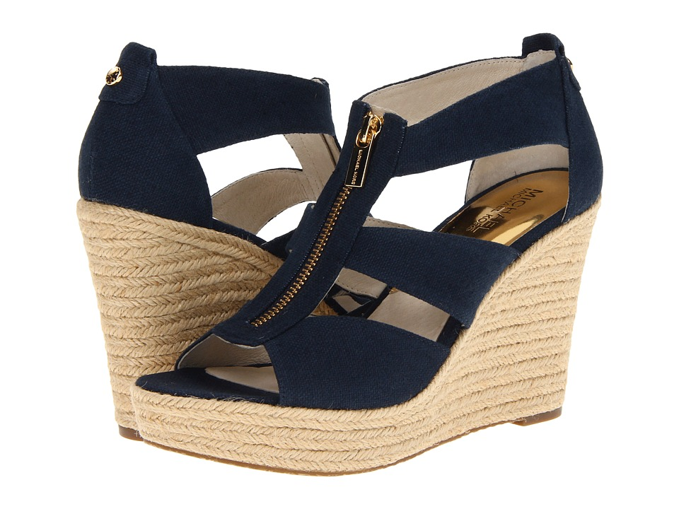 MICHAEL Michael Kors - Damita Wedge (Navy Canvas) Women's Wedge Shoes