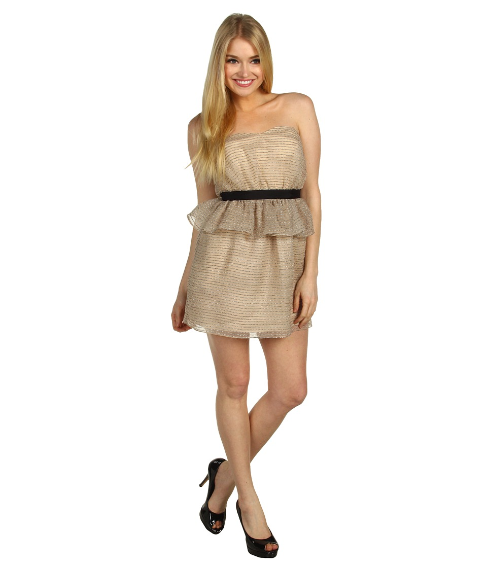 BCBGeneration - Peplum Tube Dress (Beige) Women's Dress