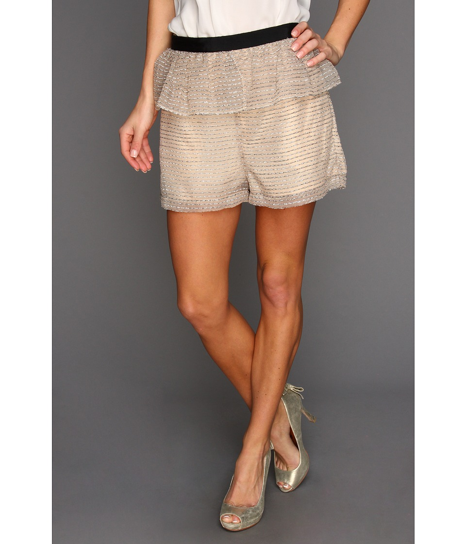 BCBGeneration - Peplum Organza Short (Beige) Women's Shorts