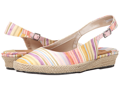 Rose Petals - Echo (Pastel Rainbow Stripe Fabric) Women's Shoes