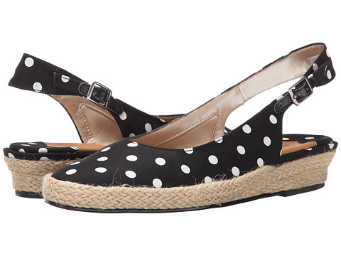 Rose Petals - Echo (Black/White Polka Dot Fabric) Women's Shoes
