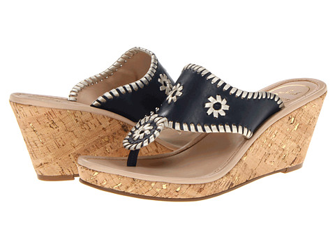 Jack Rogers - Marbella Mid-Height Espadrille (Navy/Platinum) Women's Wedge Shoes