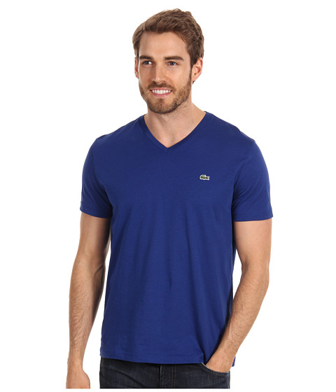 Lacoste - S/S Pima Jersey V-Neck T-Shirt (Captain Blue) Men