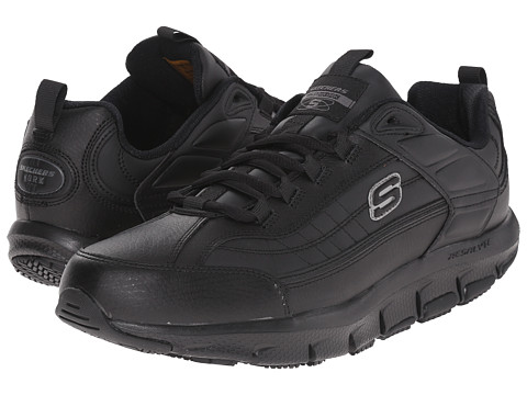 SKECHERS Work - Brawny (Black) Men's Lace up casual Shoes