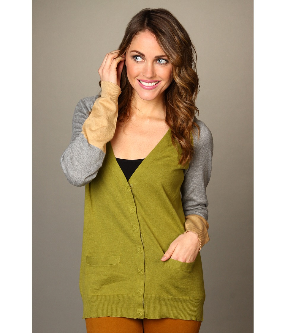 Michael Stars - V-Neck Color Block Cardigan Sweater (Olive) Women