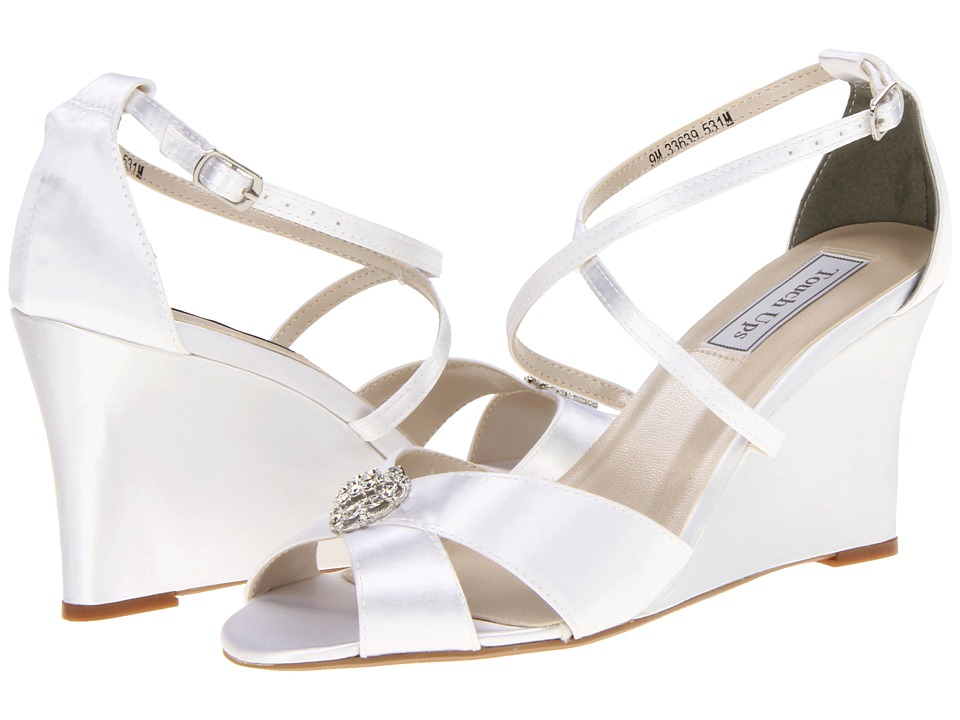 Touch Ups - Mickey (White Satin) Women's Wedge Shoes