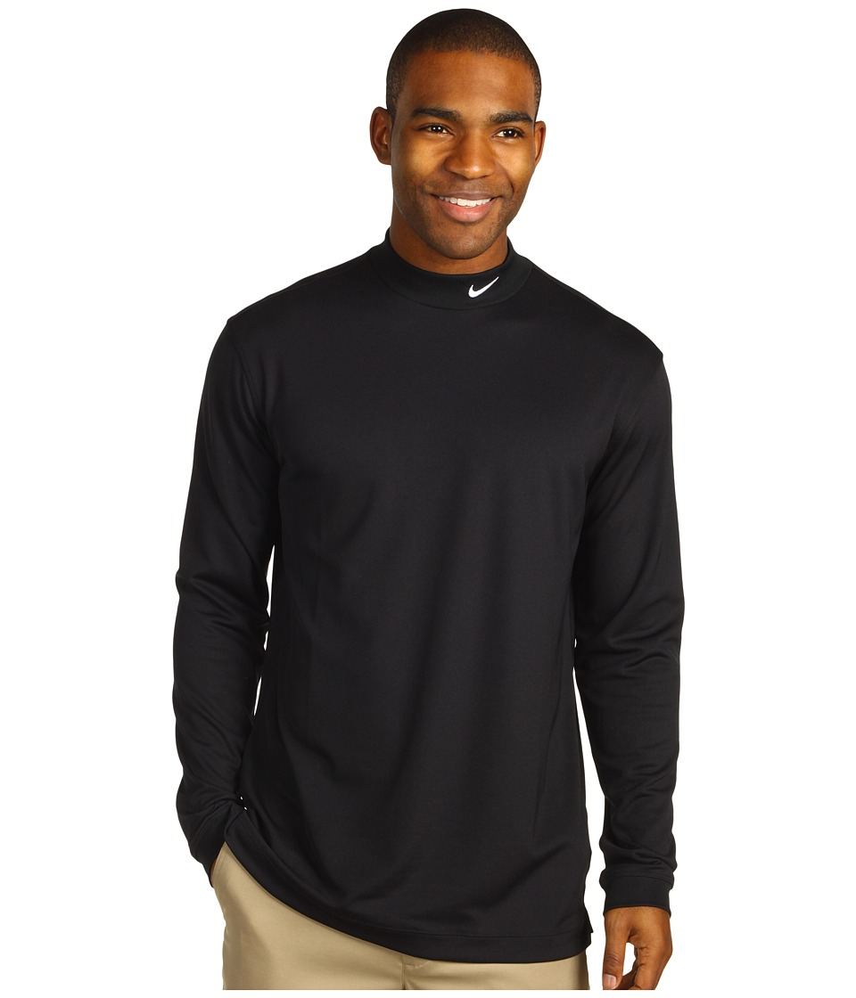 Nike Golf - UV Nike Victory L/S Mock (Black/White) Men's Long Sleeve Pullover