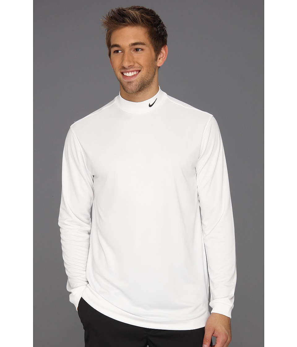 Nike Golf - UV Nike Victory L/S Mock (White/Black) Men's Long Sleeve Pullover
