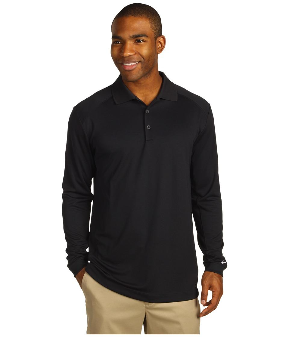 Nike Golf - UV Nike Victory L/S Polo (Black/White) Men's Long Sleeve Pullover
