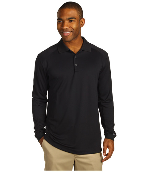 Nike Golf - UV Nike Victory L/S Polo (Black/White) Men's Long Sleeve Pullover