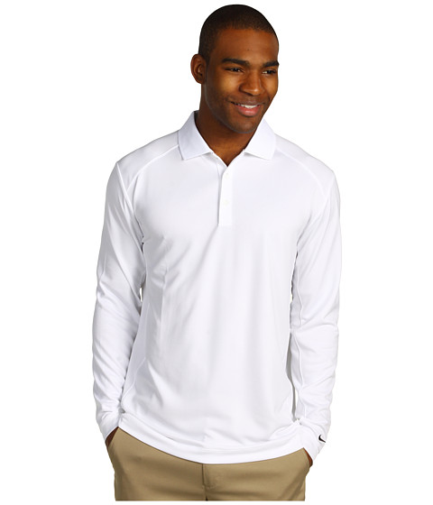 Nike Golf - UV Nike Victory L/S Polo (White/Black) Men's Long Sleeve Pullover