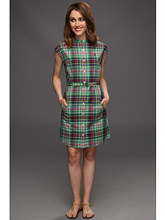 SALE! $71.99 - Save $88 on Fred Perry Grandad Collar Madras Shirtdress (Shamrock) Apparel - 55.01% OFF $160.00