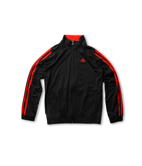 adidas Kids - Loose Core Full Zip Jacket (Little Kids/Big Kids) (Black/Light Scarlet) Boy