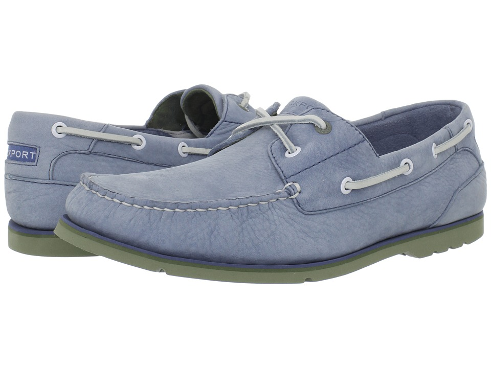 Rockport - Summer Tour 2 Eye Boat Shoe (Light Blue Nubuck/Green) Men