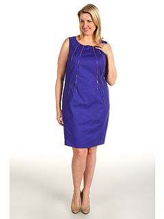 SALE! $46.99 - Save $83 on Calvin Klein Plus Size Shift Dress w Zippers (Electric Purple) Apparel - 63.71% OFF $129.50