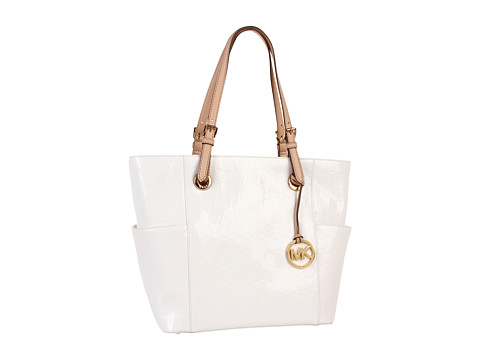 MICHAEL Michael Kors - Jet Set EW Signature Tote (White Mirror Metallic) Tote Handbags
