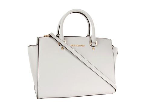 MICHAEL Michael Kors - Selma Large TZ Satchel (Optic White) Satchel Handbags