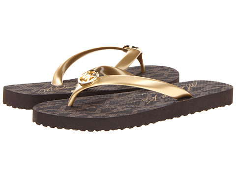 MICHAEL Michael Kors - MK Flip Flop (Gold Jet Set Logo Print) Women's Sandals