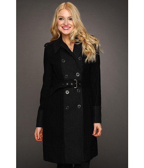 Vince Camuto - Double Breasted Belted Coat (Black/Charcoal) Women's Coat