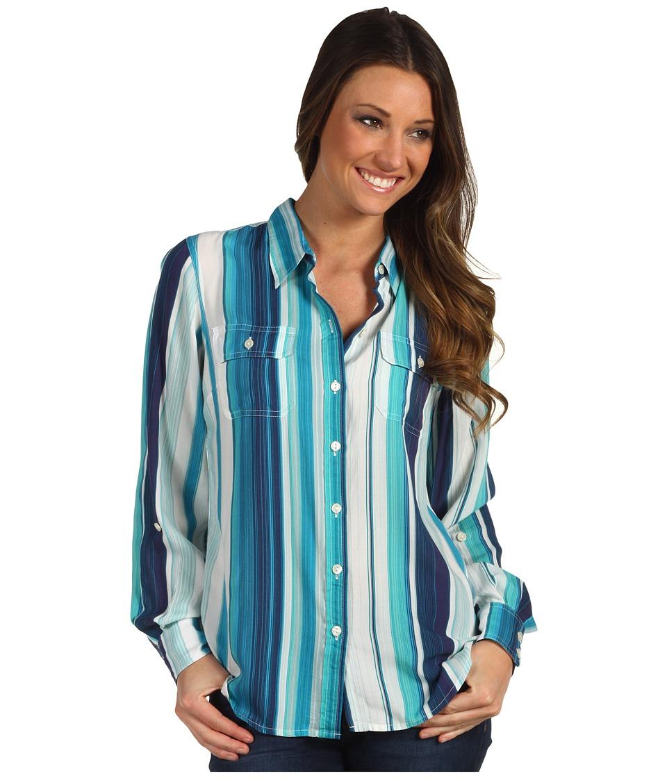 Lucky Brand Brooke Striped Shirt Womens Long Sleeve Button Up (Blue)