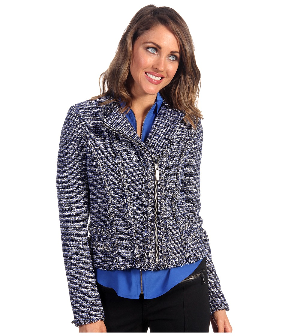 MICHAEL Michael Kors - Tweed Moto Chain Trim Jacket (Urban Blue/Black) Women's Coat