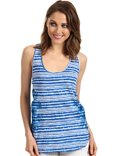 SALE! $16.99 - Save $51 on C C California Floral Placement Print On Hi Lo Racer Tank (Directoire Blue) Apparel - 75.01% OFF $68.00