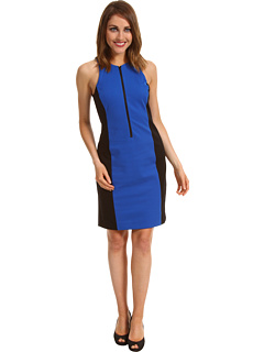 SALE! $51.99 - Save $78 on MICHAEL Michael Kors Ponte Colorblocked Zip Dress (Urban Blue) Apparel - 60.01% OFF $130.00