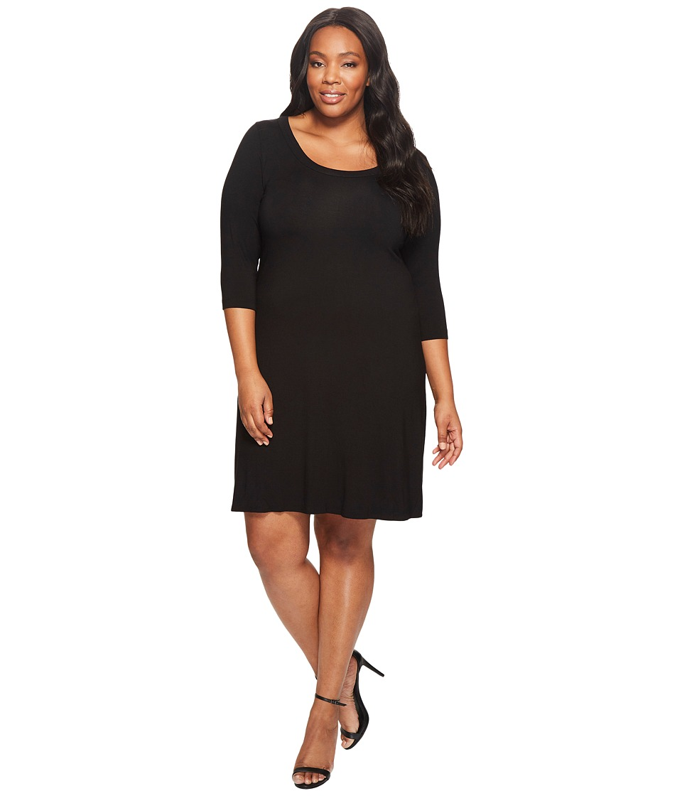 Karen Kane Plus - Plus Size Three Quarter Sleeve A-Line Dress (Black) Women's Dress