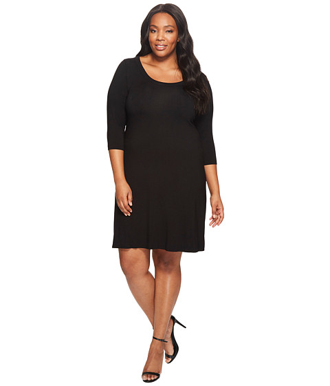 Karen Kane Plus - Plus Size Three Quarter Sleeve A-Line Dress (Black) Women