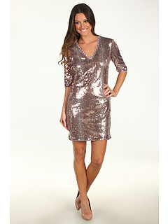 SALE! $39.99 - Save $118 on Donna Morgan Samantha V Neck Three Quarter Sleeve Sequin Sheath Dress (Copper Multi) Apparel - 74.69% OFF $158.00