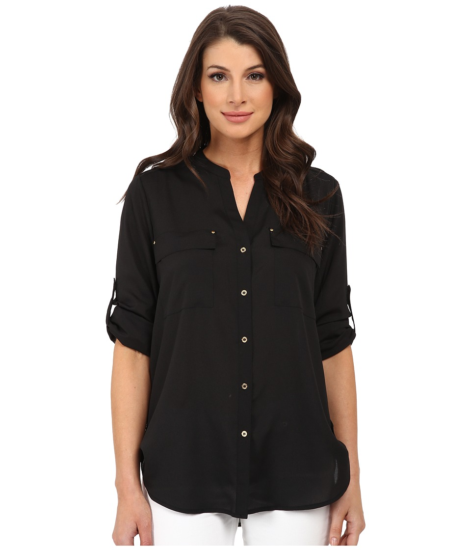 Calvin Klein - Crew Neck Roll Sleeve Blouse (Black) Women's Blouse