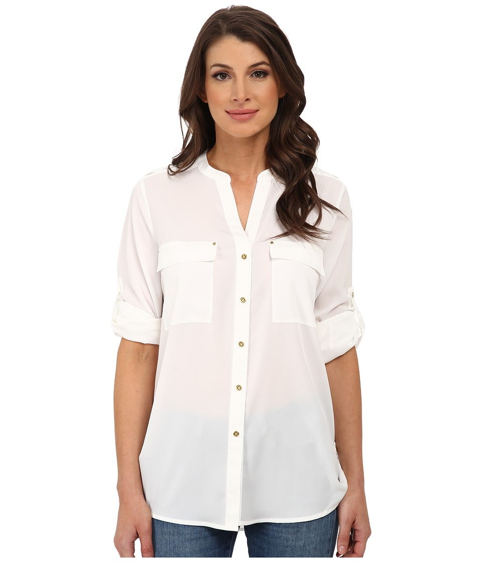 Calvin Klein - Crew Neck Roll Sleeve Blouse (Soft White) Women's Blouse